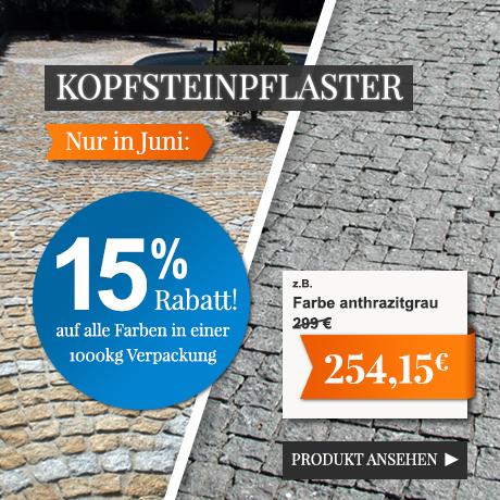 15% Rabatt auf Kopfsteinpflaster